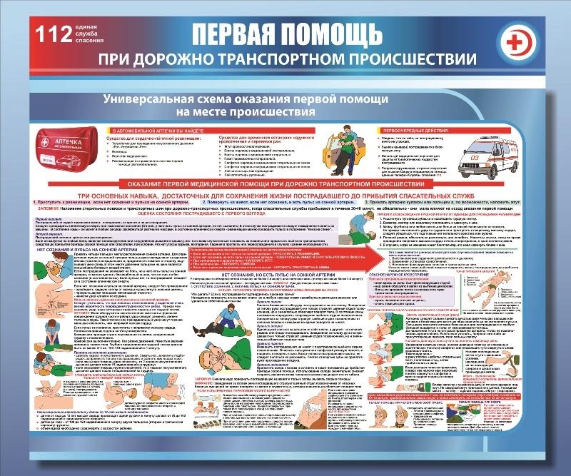 """Стенд """"Первая помощь при ДТП"""", 1200*1000 мм"""